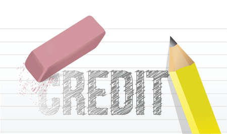 erase credit concept illustration design over a white background Vector