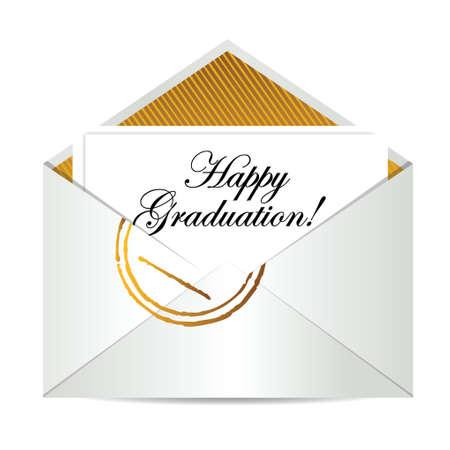 Happy graduation congratulatory letter illustration design over white