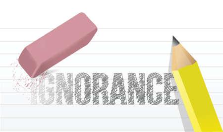 ignorance: erase ignorance concept illustration design over a white background