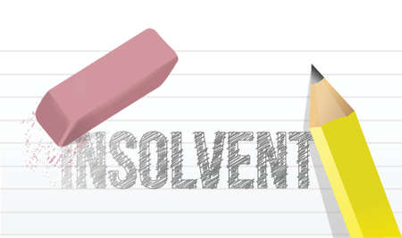 wiped out: erase insolvency concept illustration design over a white background Illustration