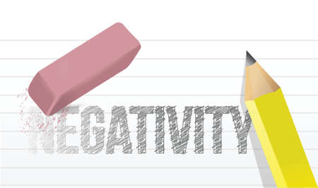 negativity: erasing negativity concept illustration design over a white background