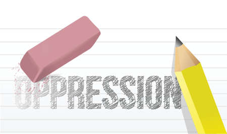 hardness: erasing oppression concept illustration design over a white background