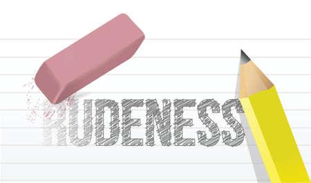 boldness: erasing rudeness concept illustration design over a white background