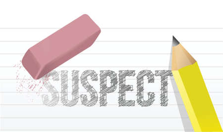 suspected: erasing suspect concept illustration design over a white background