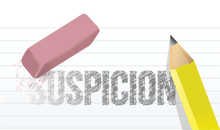 suspicion: erasing suspicion concept illustration design over a white background