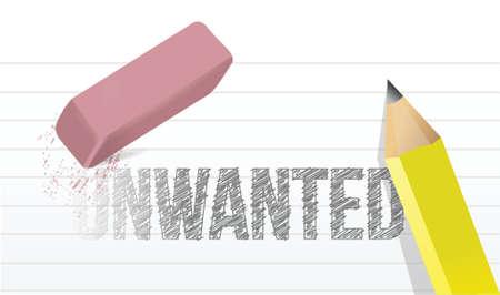 undesirable: erasing unwanted concept illustration design over a white background Illustration