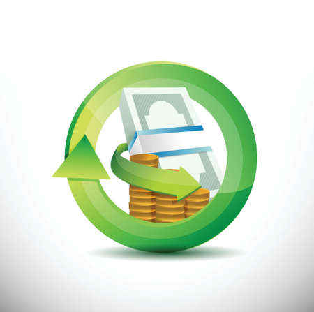 debt collection: bills and coins 360 design concept illustration design over white Illustration