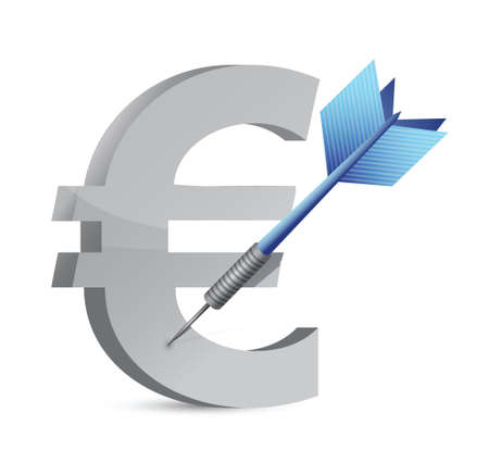 price hit: target euro currency illustration design over white