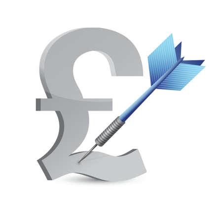 target pound currency illustration design over white Ilustrace