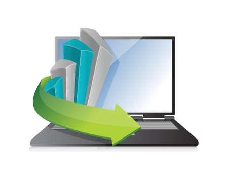 smart goals: business graph laptop illustration design over a white background