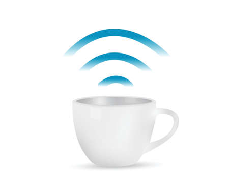 wi fi icon: internet coffee mug concept illustration design over white Illustration