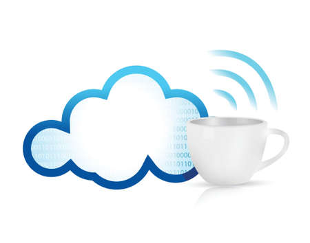cloud computing coffee mug concept illustration design over white Stock Vector - 20068999
