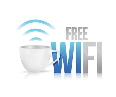 白で無料 wifi コーヒー マグカップ コンセプト イラスト デザイン