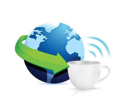 cafe internet: Internet hotspots taza concepto de diseño de la ilustración en blanco