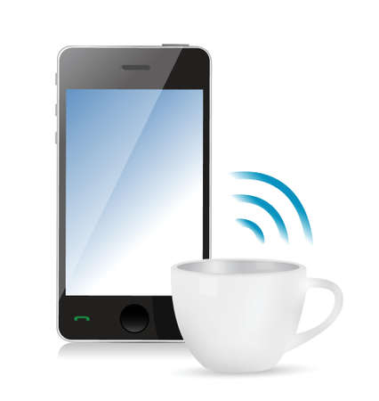 smartphone icon: internet connection coffee mug concept illustration design over white