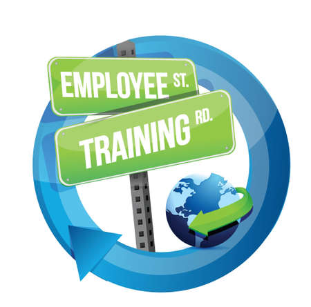 employee training road sign illustration design over white Vector