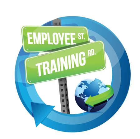employee training road sign illustration design over white Stock Vector - 20069009