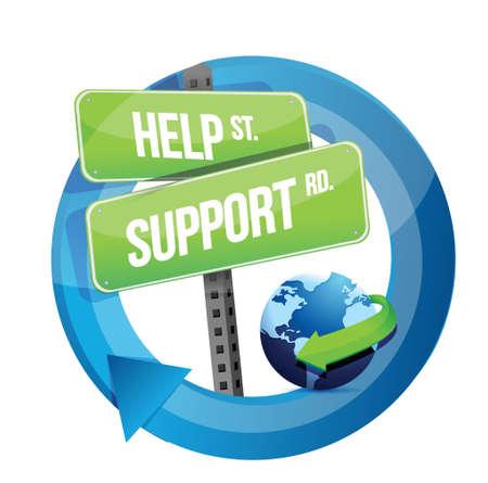 Hilfe Unterstützung Verkehrsschild Illustration, Design in weiß Standard-Bild - 20069005