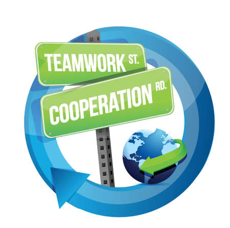 road conditions: teamwork cooperation road sign illustration design over white