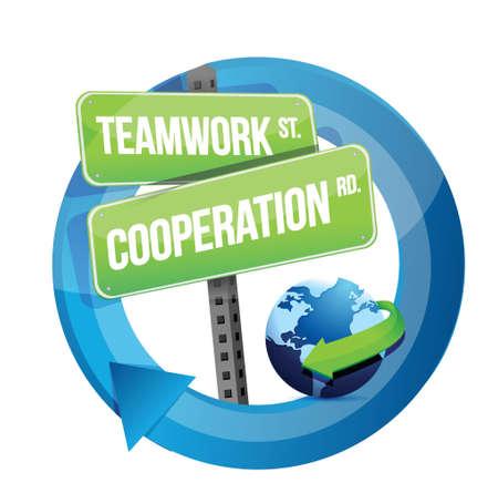 teamwork samenwerking verkeersbord illustratie ontwerp op wit Stock Illustratie