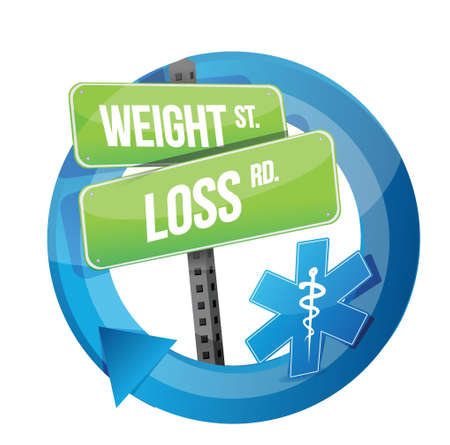 weight loss road sign illustration design over white