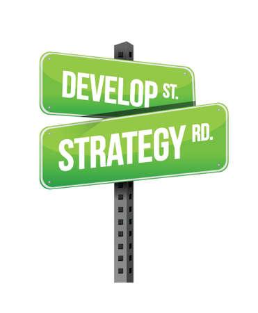 cruce de caminos: desarrollar se�al de tr�fico dise�o de la estrategia ilustraci�n en blanco