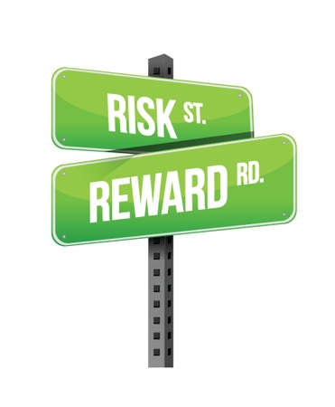 risk, reward road sign illustration design over white Vector