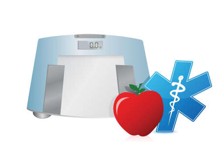 fatness: Healthy food and weight scale, illustration design over white Illustration