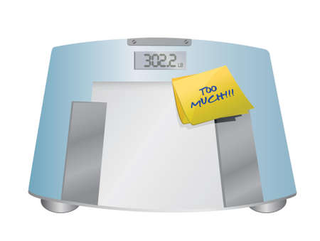 lose weight: too much sign on a weight scale. illustration design over white