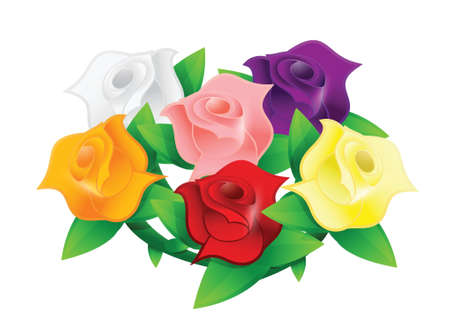 colorful flower wedding bouquet illustration design over white Stock Vector - 20151961