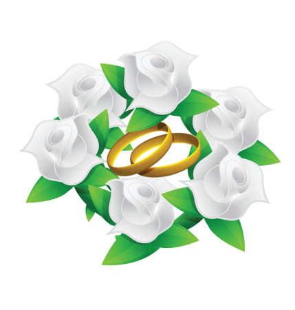 scaled: flower and rings wedding bouquet illustration design over white
