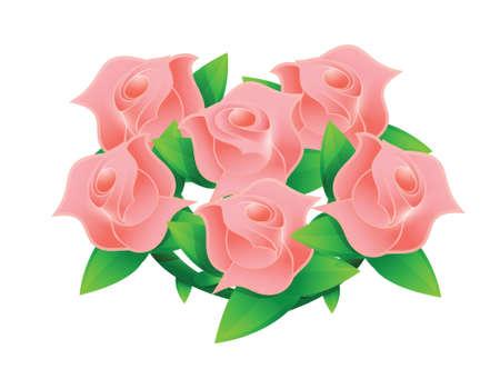 pink flower wedding bouquet illustration design over white Stock Vector - 20151962