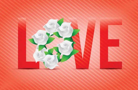 red color Love flowers illustration designs over a light background Vector