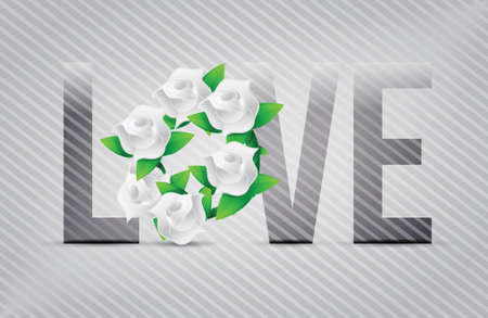 white love flowers illustration designs over a light background Stock Vector - 20151976