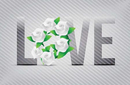 white love flowers illustration designs over a light background Stock Vector - 20151976