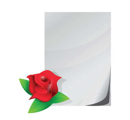 red rose love letter illustration design over a white background