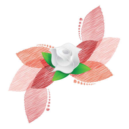 rose over red leaves illustration design over a white background Stock Vector - 20151957