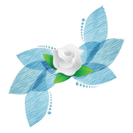 rose over blue leaves illustration design over a white background Stock Vector - 20151964