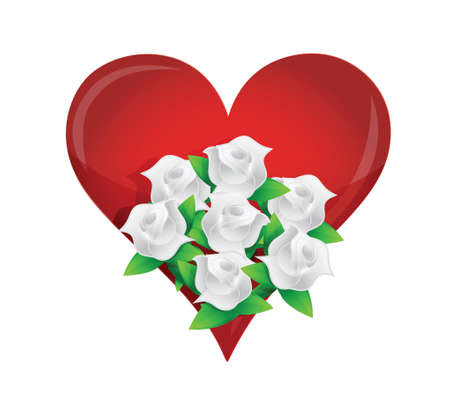 heart, white flower wedding bouquet illustration design over white Stock Vector - 20151965