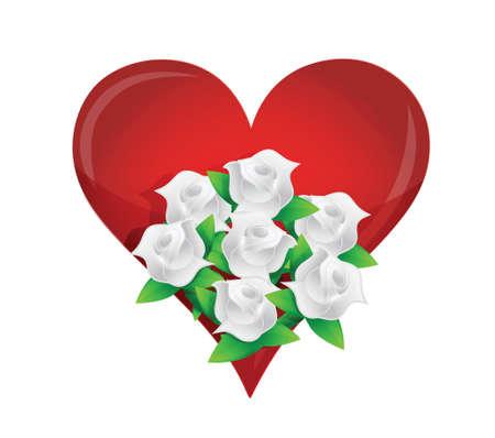 heart, white flower wedding bouquet illustration design over white Stock Vector - 20151965