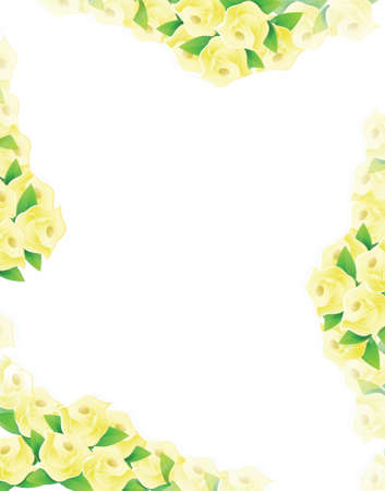 yellow flowers frame illustration designs over a light background Stock Vector - 20151973