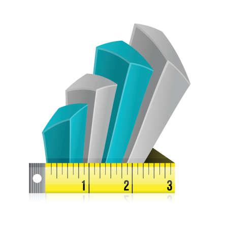 Tape measure bar graph concept illustration design over white Stock Vector - 20151925