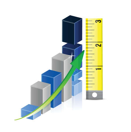 Tape measure bar graph concept illustration design over white Stock Vector - 20151929