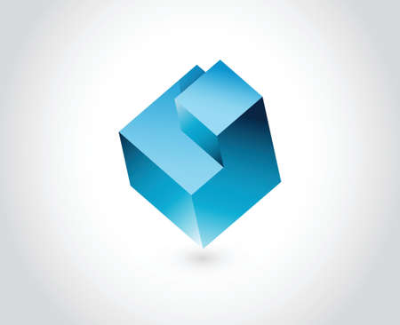 Abstract logo template. Logic puzzle cube illustration design