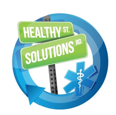 gezonde oplossing road symbool illustratie ontwerp op wit Stock Illustratie