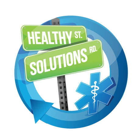 solution: healthy solution road symbol illustration design over white Illustration