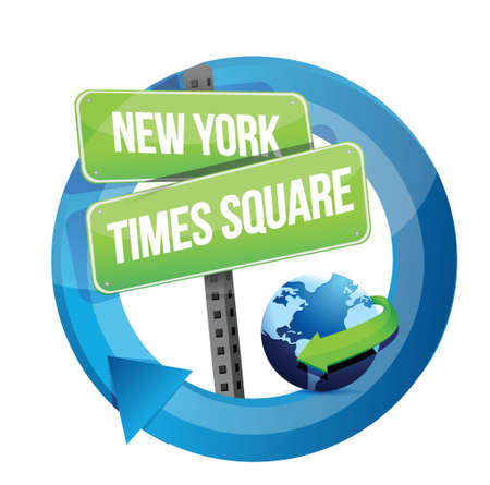 new york city times square: New York, Times square road symbol illustration design over white Illustration