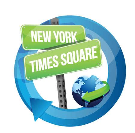 new york time: Nueva York, Times Square carretera s�mbolo ilustraci�n, dise�o en blanco