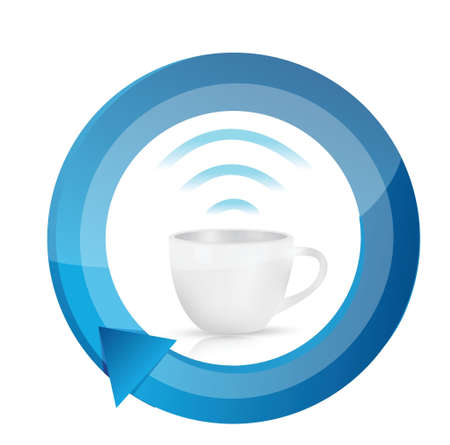 ciclo de vida: taza de café wifi ciclo de diseño ilustración sobre un fondo blanco