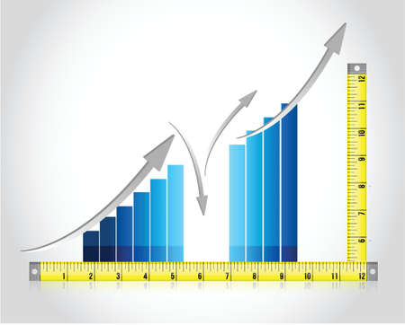Tape measure bar graph concept illustration design over white Illustration